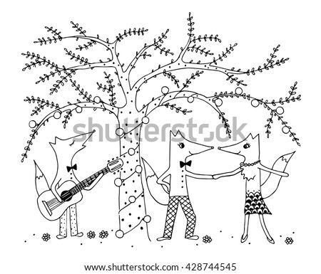 Coloring Page for Kids. Funny fox party under the tree with flashlights. Three foxes: singing and playing guitar and dancing couple. Black and white hand drawing. Vector doodle illustration.  - stock vector