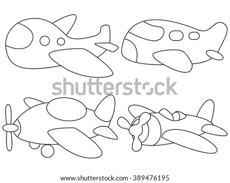 Coloring page for kids in black outline. planes vector illustration - stock vector