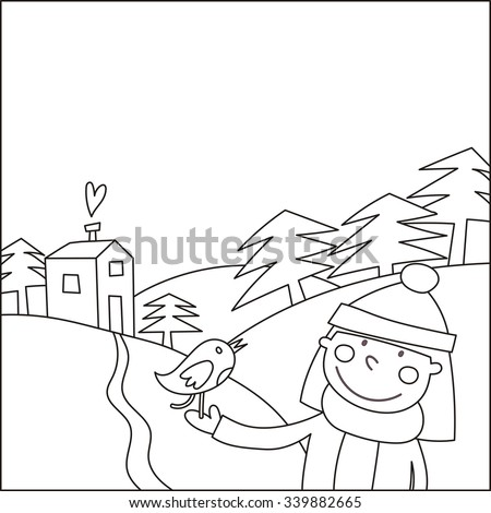 "Coloring page ""Happy Holiday"""