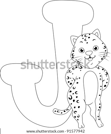 Coloring Page Illustration Featuring a Jaguar