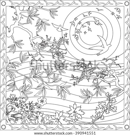 Coloring Page Illustration Square Format Adults Stock Vector ...