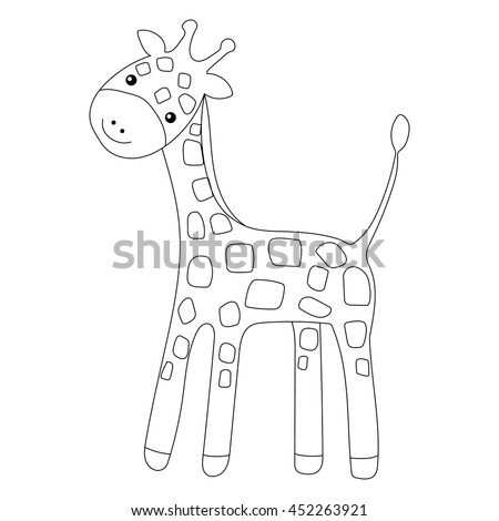 Coloring Page Little Cute Giraffe Isolated On White Background For Kid Colouring Book Vector Illustration
