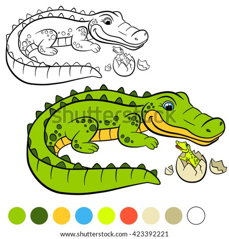 coloring page mother alligator with her little cute baby in the egg - Alligator Clip Art Coloring Pages
