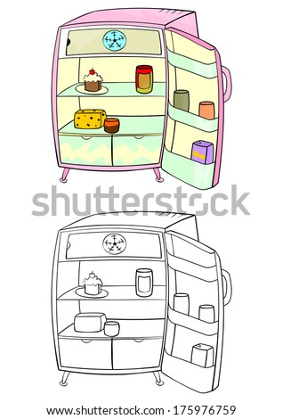 Coloring page of an open refrigerator on a white background. Vector