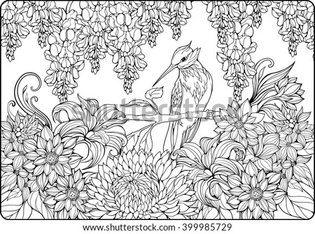 coloring page of bird on a branch in  a garden - stock vector