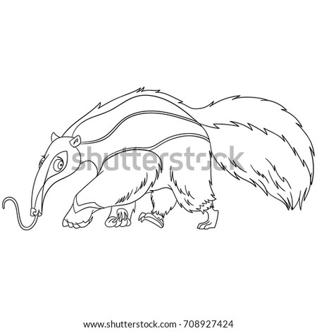 Amazing Coloring Page Of Cartoon Anteater Animal. Coloring Book Design For Kids And  Children.
