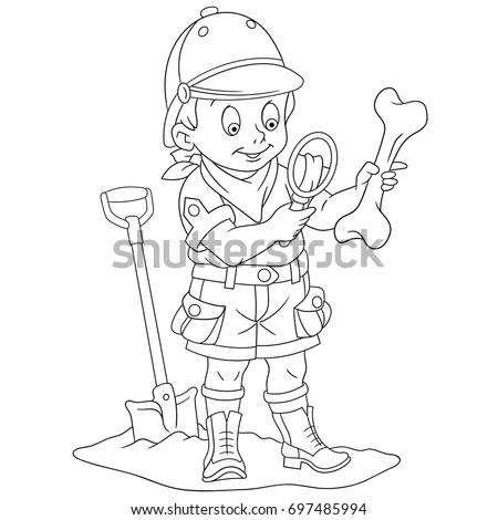 Coloring Page Cartoon Boy Archaeological Explorer Stock Vector HD ...