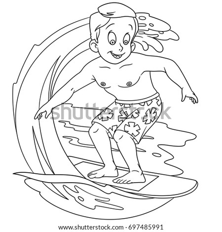 Coloring Page Cartoon Boy Surfing On Stock Vector 697485991 ...