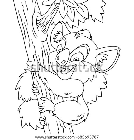 Coloring Page Of Cartoon Koala Bear Climbing The Tree Book Design For Kids And