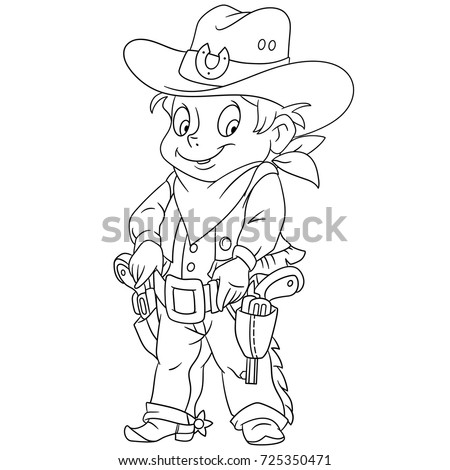 Coloring Page Cartoon Sheriff American Cowboy Stock Vector 725350471 ...