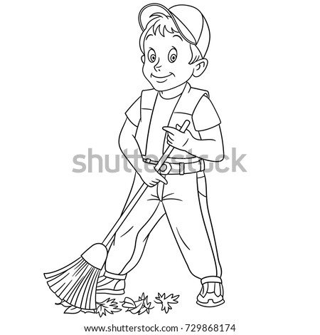 Coloring Page Of Cartoon Street Cleaner Sweeper Sweeping Out Autumn Leaves Book