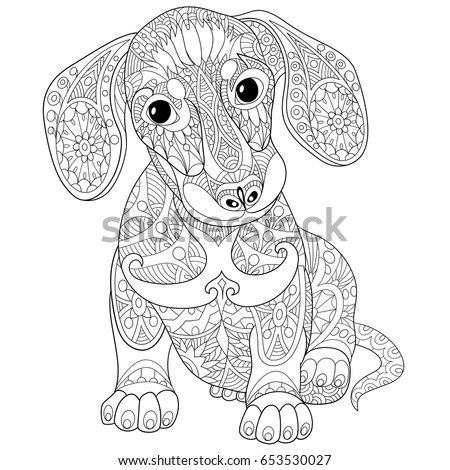 Coloring Page Of Dachshund Puppy Dog Symbol 2018 Chinese New Year Freehand Sketch