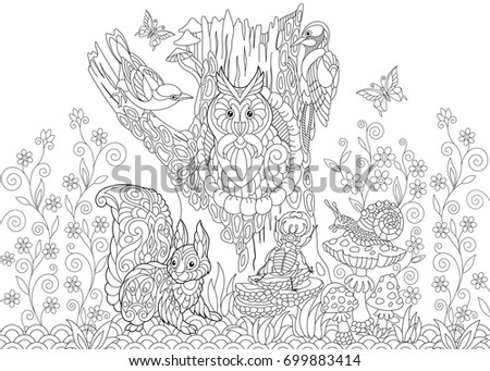 Coloring Page Forest Creatures Owl Cuckoo Stock Vector