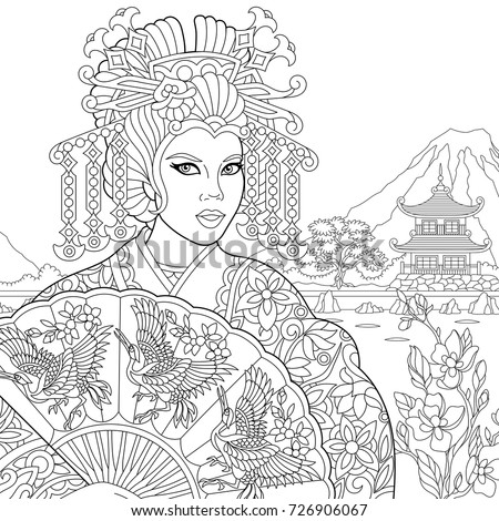 Coloring page of geisha japanese dancing actress holding paper fan with crane birds