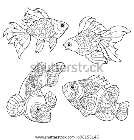 Coloring Page Of Goldfish And Clown Fish Freehand Sketch Drawing For Adult Antistress Book