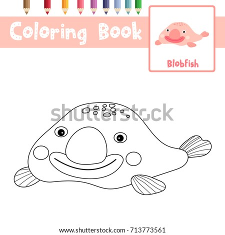 Coloring Page Of Happy Pink Blobfish Animals For Preschool Kids Activity Educational Worksheet Vector Illustration