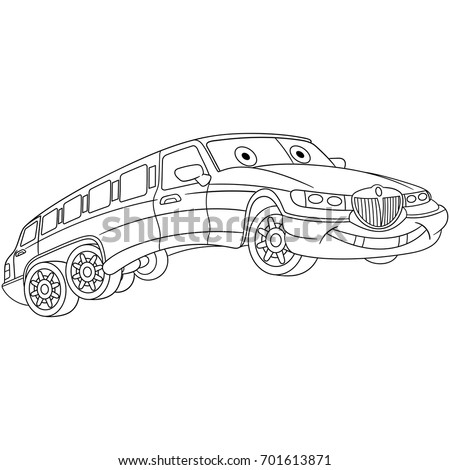 Coloring Page Of Limousine Car Limo Cartoon Vehicle Transport Book Design
