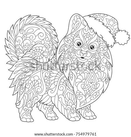 Coloring Page Pomeranian Dog Symbol 2018 Stock Vector 731491798