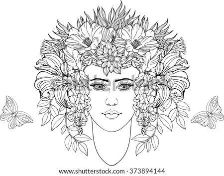 Coloring Page Portrait Girl Flowers Hair Stock Vector 373894144 ...