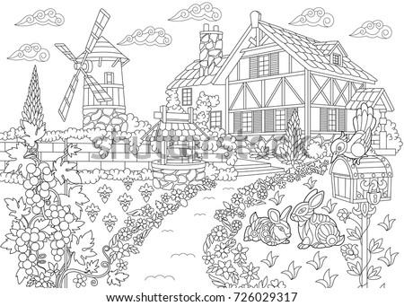 Coloring Page Rural Landscape Farm House Stock Photo (Photo, Vector ...