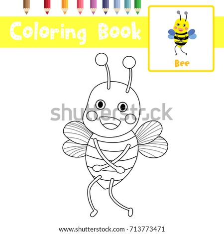 Wonderful Coloring Page Of Standing Bee Animals For Preschool Kids Activity  Educational Worksheet. Vector Illustration.