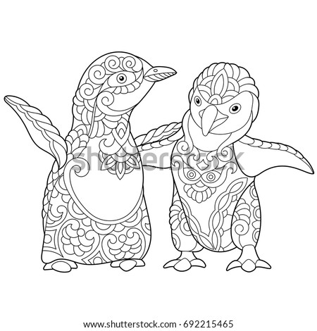 coloring pages penguins in love | Coloring Page Emperor Penguins Couple Love Stock Vector ...
