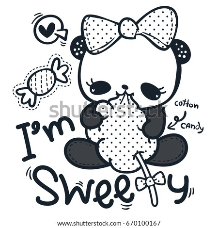 Coloring Page Outline Cute Cartoon Panda Girl Wearing A Bow Eating Cotton Candy Isolated On