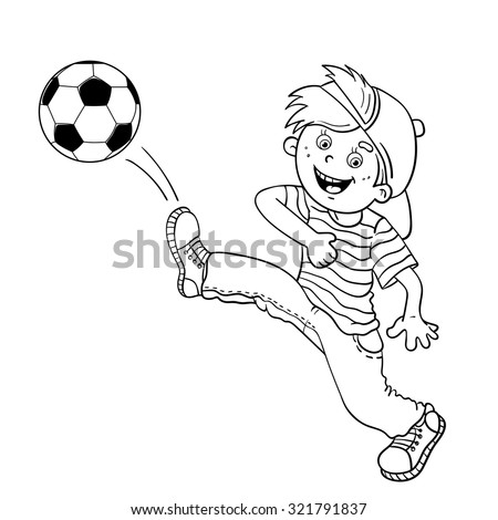 Coloring Page Outline Of A Cartoon Boy Kicking Soccer Ball