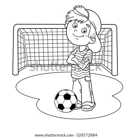 coloring page outline of a cartoon boy with a soccer ball and football goal
