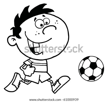 Coloring Page Outline Of A Cartoon Soccer Player Boy Running After Ball