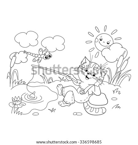 coloring page outline of a funny cat catching a fish on a pond - Picture Outlines For Colouring