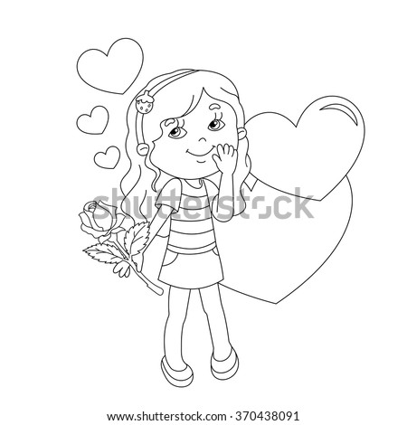 Coloring Page Outline Beautiful Girl Rose Stock Vector 370438088