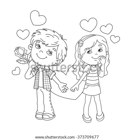 Outline Of A Boy And Girl