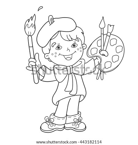 Coloring Page Outline Cartoon Boy Artist Stock Vector HD (Royalty ...