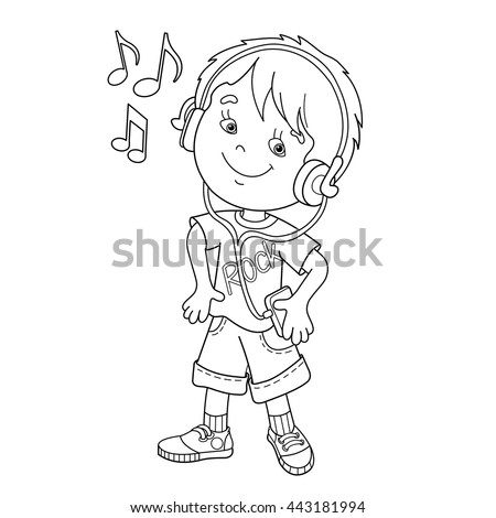 Coloring Page Outline Of Cartoon Boy In Headphones Listening To Music Book For Kids