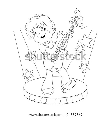 Coloring Page Outline Cartoon Jumping Boy Stock Vector