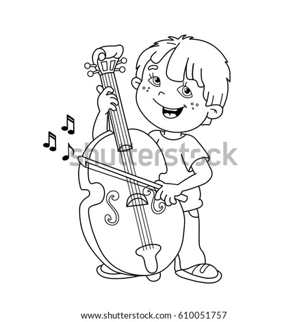 Coloring Page Outline Cartoon Boy Playing Stock Photo (Photo, Vector ...