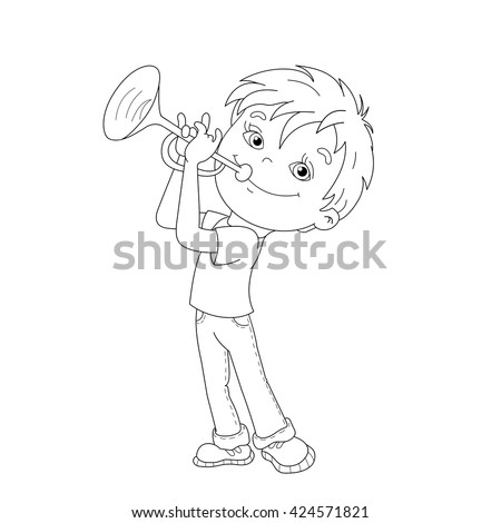 coloring page outline of cartoon boy playing the trumpet coloring book for kids