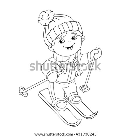 coloring page outline of cartoon boy riding on skis winter sports coloring book for - Sports Coloring Book