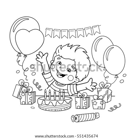 Coloring Page Outline Cartoon Boy Gifts Stock Vector (2018 ...