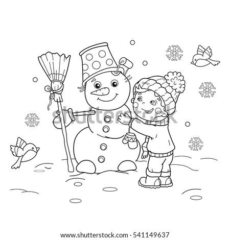 Coloring Page Outline Cartoon Boy Snowman Stock Vector 541149637 ...