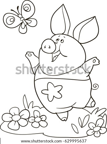 Coloring Page Outline Of Cartoon Cute Pig With Butterfly Vector Illustration Book For