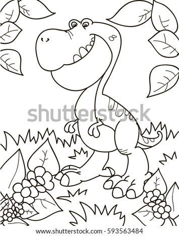 Coloring page outline of cartoon dinosaur tyrannosaur vector illustration coloring book for kids
