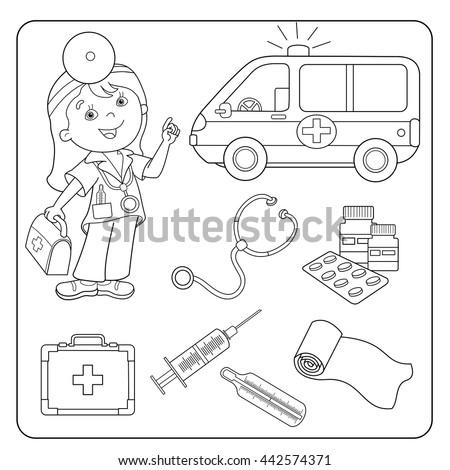 First Aid Coloring Pages Amusing Coloring Page Outline Cartoon Doctor First Stock Vector 442574371 .