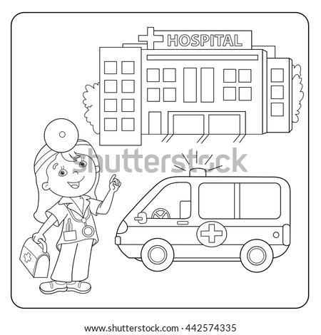 Coloring Page Outline Cartoon Doctor Ambulance Stock Vector ...