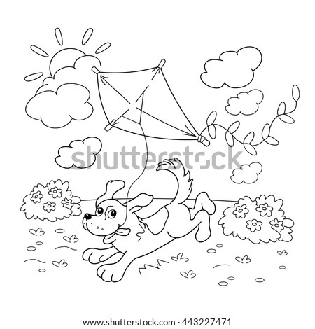 coloring page outline cartoon dog kite stock vector 443227471