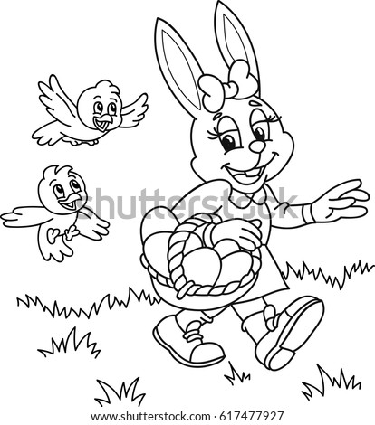 Coloring Page Outline Cartoon Easter Bunny Stock Vector HD Royalty Free 617477927