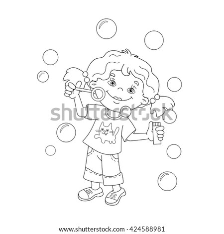 coloring page outline of cartoon girl blowing soap bubbles coloring book for kids