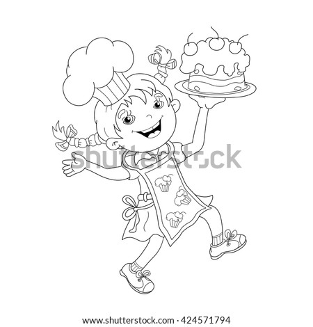 Coloring Page Outline Of Cartoon Girl Chef With Cake Book For Kids