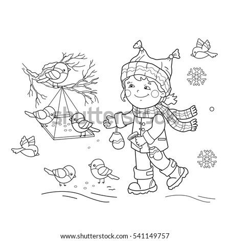 Coloring Page Outline Of Cartoon Girl Feeding Birds Bird Feeder Winter Book